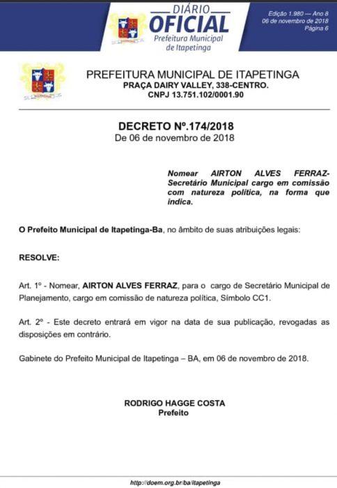 airton-plan-484x700 PREFEITO RODRIGO HAGGE EXONERA E REMANEJA SECRETÁRIOS MUNICIPAIS Região